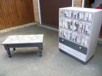 Upcycled shabby chic furniture, 2 door cabinet, coffee table