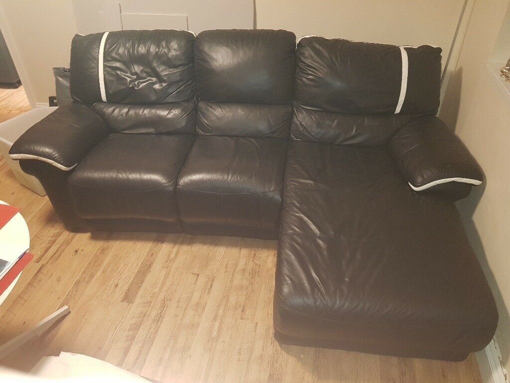 Black Leather Sofa with Recliner, Ilford, £150