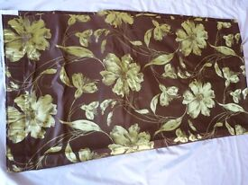 x1 Fully Lined Brown Curtain with a Green Floral Pattern. For a hall door etc.