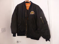 Padded bomer style jacket with a big Harley Davidson motif embroidered on the back XL