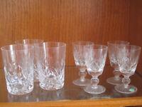 Stuart Crystal Glasses, set of 4 X 3 inch diameter & 3 X 4 inch diameter.