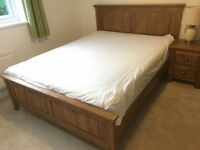 Rustic solid oak king size bed and bedside table