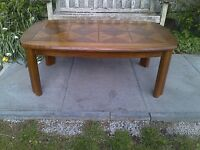 Rare Quality Large G Plan Teak Coffee Table with Marquetry Top