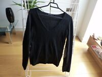Black Cashmere Jumper - Size XS - Wings sequins in the back - 100% Cashmere - Berenice