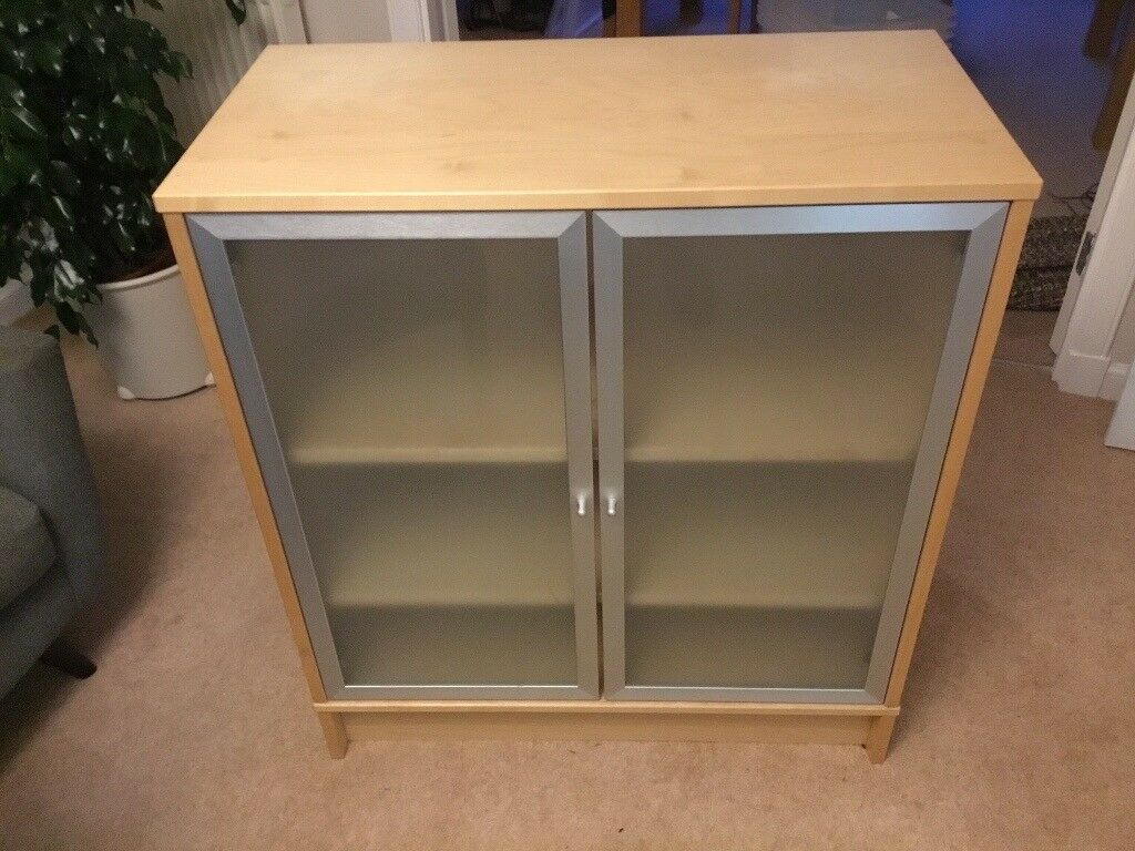 Ikea Office Cupboard Bookcase With Frosted Glass Doors Great