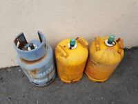 3 x Gas Bottles 2x Calor Gas and 1 x B&Q Patio Gas
