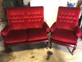 Red Velvet Chair & 2 Seater