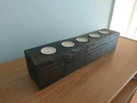 SOLID SCORCHED WOOD TEALIGHT HOLDER