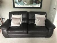 Brown Leather 3 seater sofa and two armchairs
