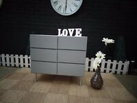 SOLID PINE CHEST OF DRAWERS WITH 6 DRAWERS PAINTED WITH LAURA ASHLEY PALE DOVE GREY AND PARIS GREY
