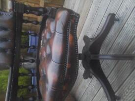 Chesterfield Brown Leather Captains Chair.