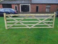 Timber 5 bar field gate 12ft long