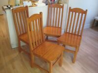 Set of 4 Solid Pine Kitchen / Dining Chairs - Very good clean condition