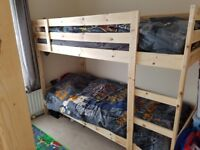 Pine bunk bed hardly used with mattress