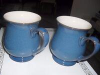 2 blue demby mugs