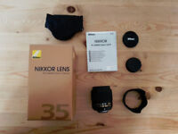 Nikon 35mm f/1.8 G FX AF-S - For Full Frame and Crop Frame bodies - As new