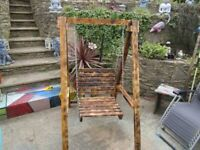 **REDUCED** UNIQUE HAND MADE BESPOKE SINGLE SEAT SWING FOR THE SMALLER GARDEN. SOLID WOOD.