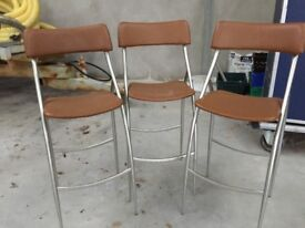 3x Brown Leather Bar Stools/ Tall Chairs
