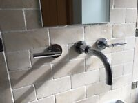 Chrome wall mounted sink mixer taps