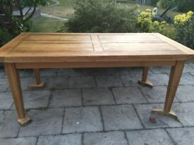 Solid Rustic Oak dining /kitchen table with extensions seats upto 12 people