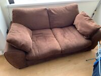 3 seater & a 2 seater brown sofas