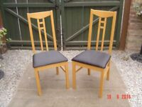 Two Beech High Backed Upholstered Dining Chairs. Can Deliver. £10 Each.