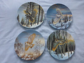 4 Collectable plates. Owls. Bradford Exchange
