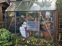 CRITTAL GREENHOUSE AND ALUMINIUM BENCH 8.5FT X 6FT (APPROX)