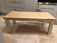 Solid oak coffee table painted in farrow and ball