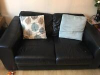 2 x 2 seater leather sofas and stripy material chair