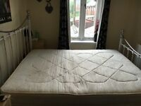 king size metal bed and mattress only 12 months old £100 pick up only Heywood