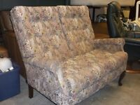 LOVELY COTTAGE STYLE 2 SEATER SOFA AND MATCHING CHAIR QUEEN ANNE LEGS NICE CONDITION