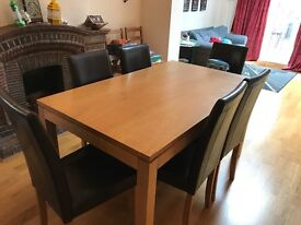 Dining Set With 6 Chairs In Black Faux Leather