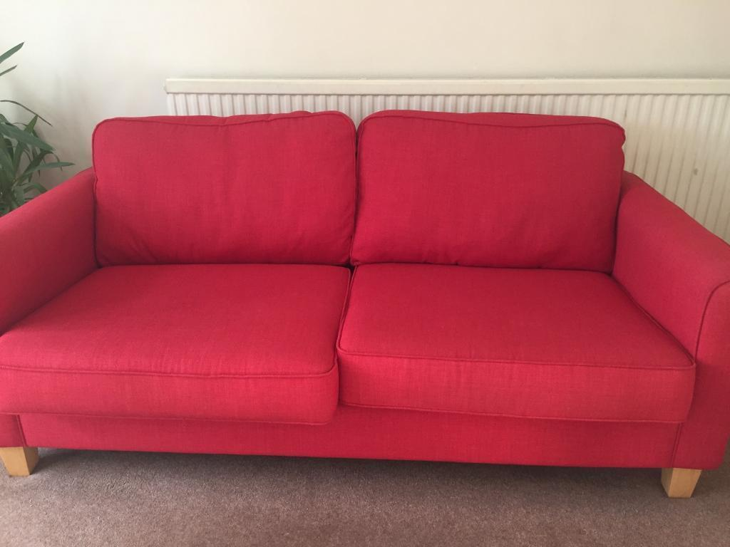 RED SOFA, 4YRS OLD. VERY GOOD CONDITION - £50