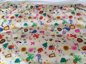 Nursery Curtains with blackout lining. Handmade, bright and beautiful animal fabric.