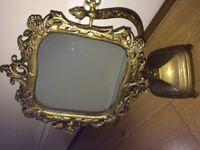 Solid brass vintage vanity mirror