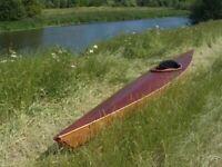 Handmade wooden sea kayak