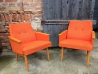 Vintage ARM CHAIRS Hall PAIR MID CENTURY European 1950s Iconic Furniture Seats