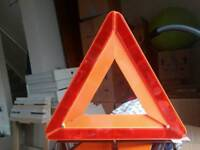 Roadside Hazard Sign Triangle Foldable + Jump Start Cables