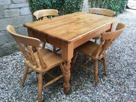 Solid pine farmhouse table and chair set with delivery