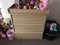 Mamas and papas drawers with baby changing top