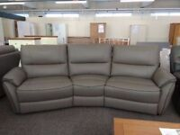 ScS Teo Grey Leather 4 Seater Curved Electric Recliner Sofa With Brown Beading **CAN DELIVER**