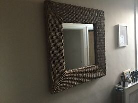 Large sea grass framed mirror
