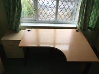 Right handed corner desk & 2 draw filing cabinet