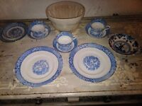 Antique blue and white shabby chic pottery with jelley mold