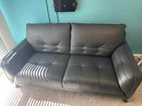 Like new- Grey real Italian leather large 2 seater sofa & leather kit