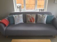 2 Grey Sofas, Great Condition, Modern & Stylish