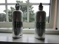 Genuine used SIGG ALUMINIUM FLASK Swiss made One litre capacity for sale £5 each or both for £8.
