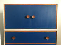 Tallboy / Chest of Drawers / Cabinet Vintage Retro Mid Century Teak, White and Blue