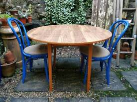 Vintage Circular Dropleaf Table & Two Cafe Chairs